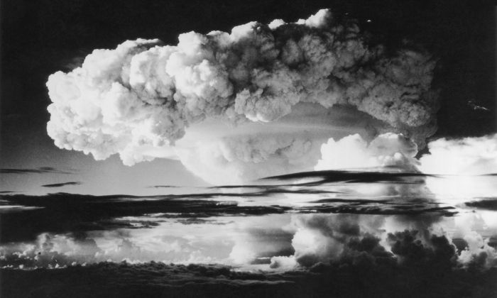 One hundred miles of sky covered by smoke and radioactivity from the first H-Bomb explosion (US) at Eniwetok Atoll in the Pacific on Nov. 1, 1952.  (Photo by Keystone/Getty Images)