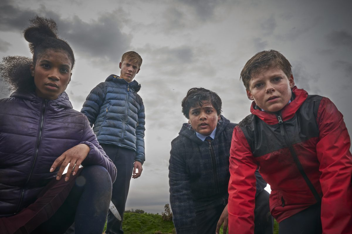 Five British kids grey skies