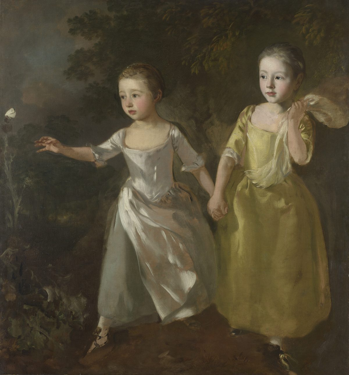 Two girls 18th century and butterfly