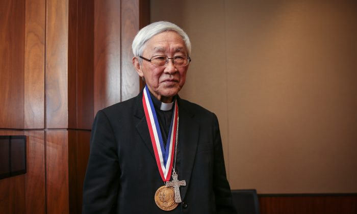 Cardinal Joseph Zen, recipient of the Truman-Reagan Medal of Freedom during the Victims of Communism Memorial Foundation's ceremony in his honor, at the Rayburn House Office Building on Capitol Hill in Washington on Jan. 28, 2019. (Samira Bouaou/The Epoch Times)