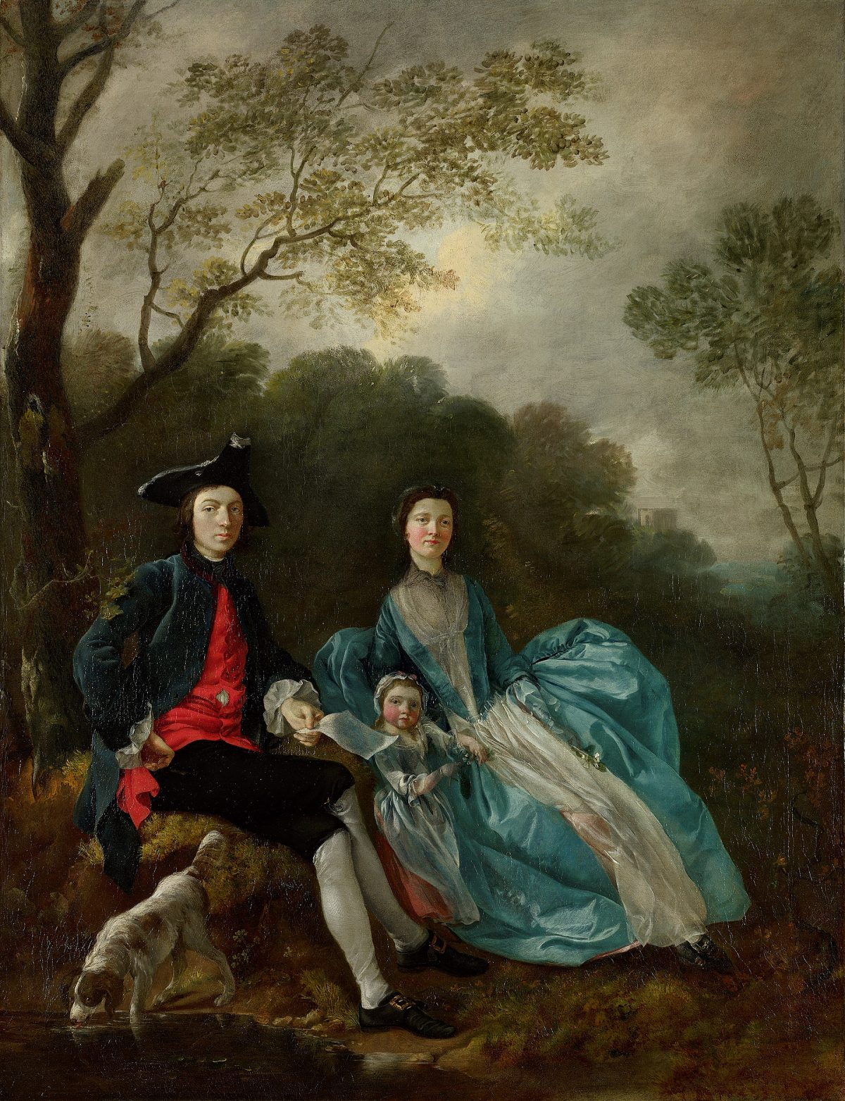18th century man with wife and child