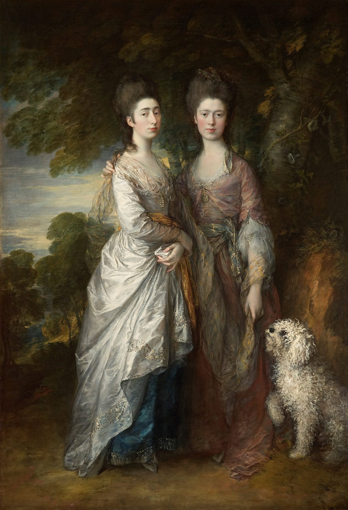 Two 18th century young women and a dog