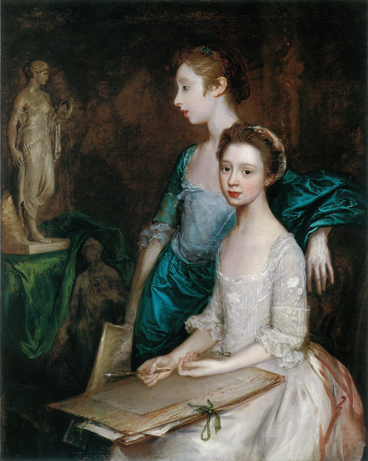 Two 18th century young ladies one with a drawing