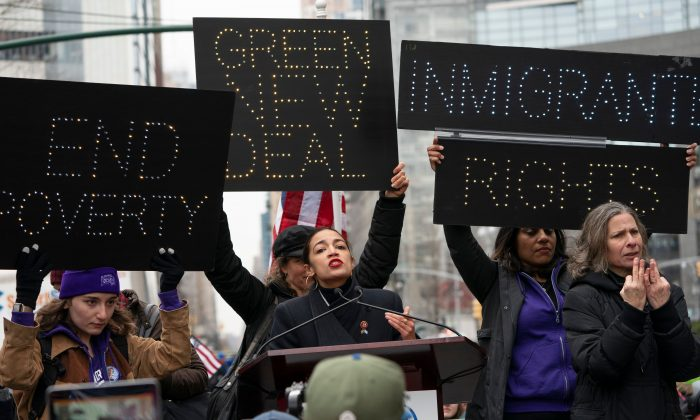 Rep. Alexandria Ocasio-Cortez (D-N.Y.) speaks during the Women's March in New York on Jan. 19, 2019. (DON EMMERT/AFP/Getty Images)