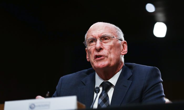 Office of the Director of National Intelligence Director Daniel Coats testifies at a hearing in front of the Senate Intelligence Committee in Congress in Washington on Jan. 29, 2019. (Charlotte Cuthbertson/The Epoch Times)