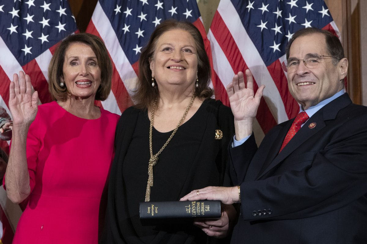 Nancy Pelosi performs a ceremonial swearing in 1200x800
