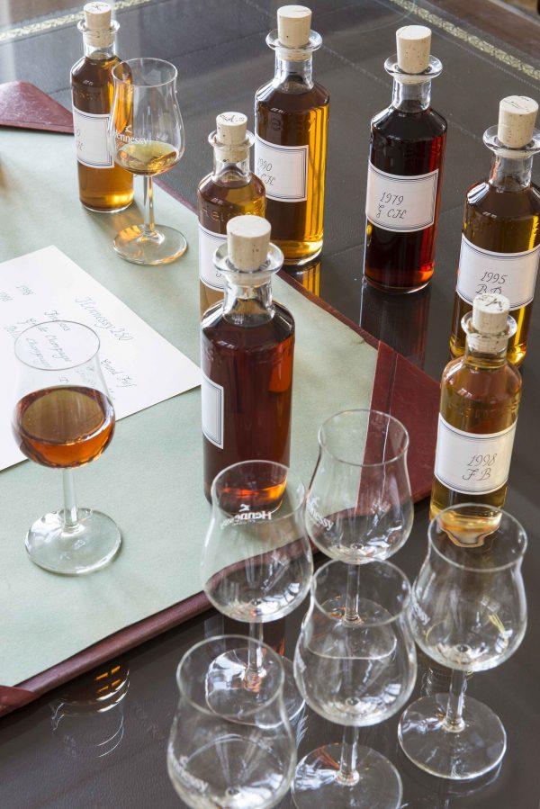 Vials of eaux-de-vie for Hennessy cognac