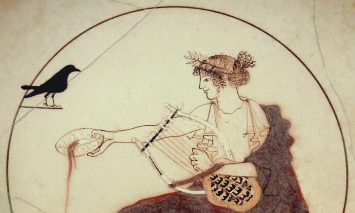 •	Apollo with the tortoise-shell lyre, on a fifth-century B.C. drinking cup or kylix. (CC BY-SA 2.0 de)