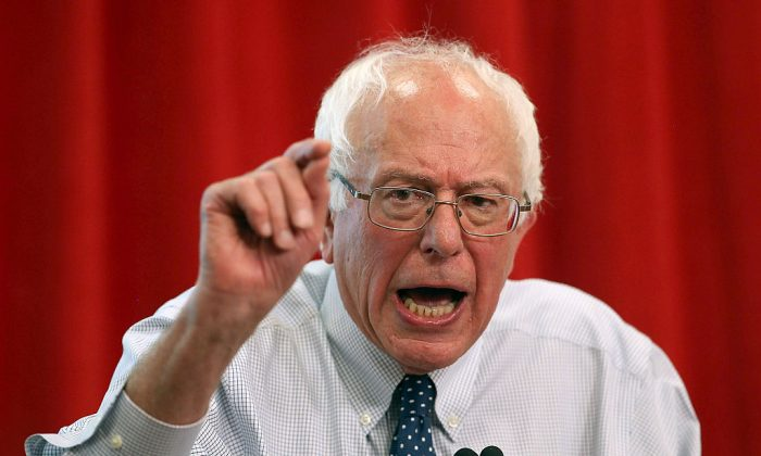 "Independent presidential candidate U.S. Sen. Bernie Sanders (I-VT) speaks during a ""Brunch with Bernie"" campaign rally at the National Nurses United offices on Aug. 10, 2015 in Oakland, Calif. (Justin Sullivan/Getty Images)"