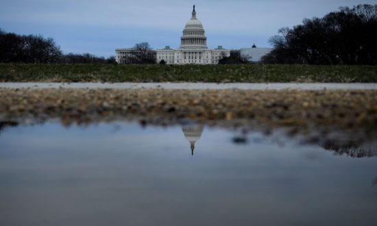 A view of Capitol Hill while the U.S. government prepares for a temporary three-week reopening from the National Mall Jan. 27, 2019. (BRENDAN SMIALOWSKI/AFP/Getty Images)