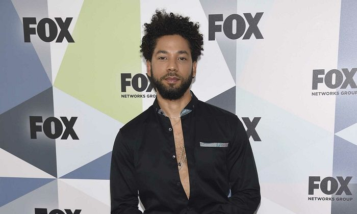"""Jussie Smollett, a cast member in the TV series """"Empire,"""" attends the Fox Networks Group 2018 programming presentation afterparty in New York on May 14, 2018.(Evan Agostini/Invision/AP, File)"""