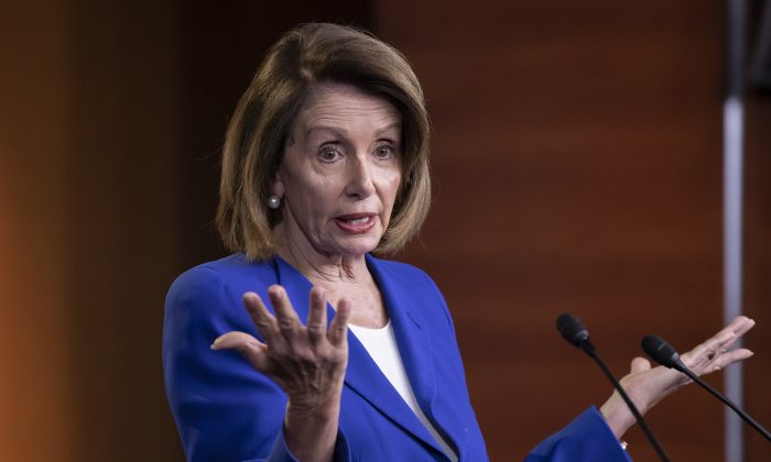 Speaker of the House Nancy Pelosi (D-Calif.) talks to reporters during a news conference a day after a bipartisan group of House and Senate bargainers met to craft a border security compromise aimed at avoiding another government shutdown, at the Capitol in Washington on Jan. 31, 2019. (AP Photo/J. Scott Applewhite)