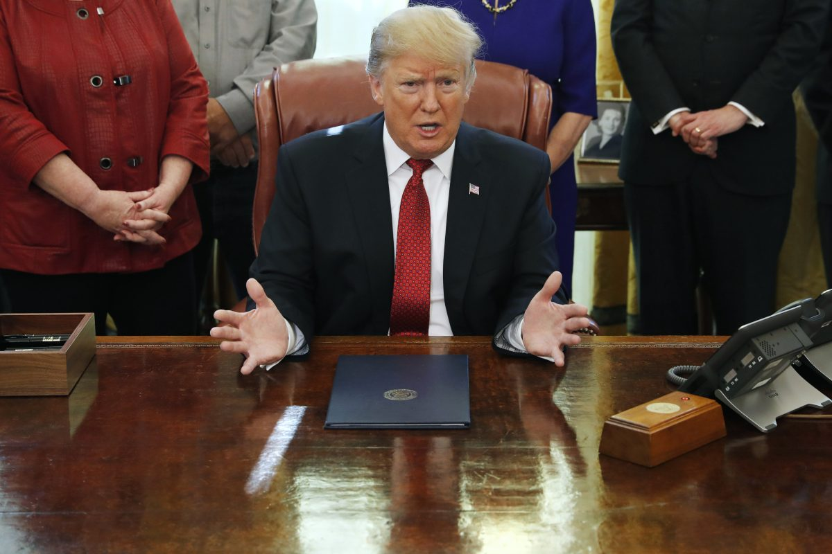 President Donald Trump speaks during a meeting
