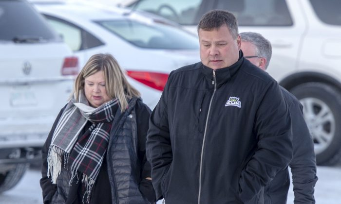 Scott Thomas, whose son Evan was killed in the crash, arrives for the sentencing hearing of Jaskirat Singh Sidhu in Melfort, Saskatchewan, on Jan. 28, 2019. (The Canadian Press/Ryan Remiorz)