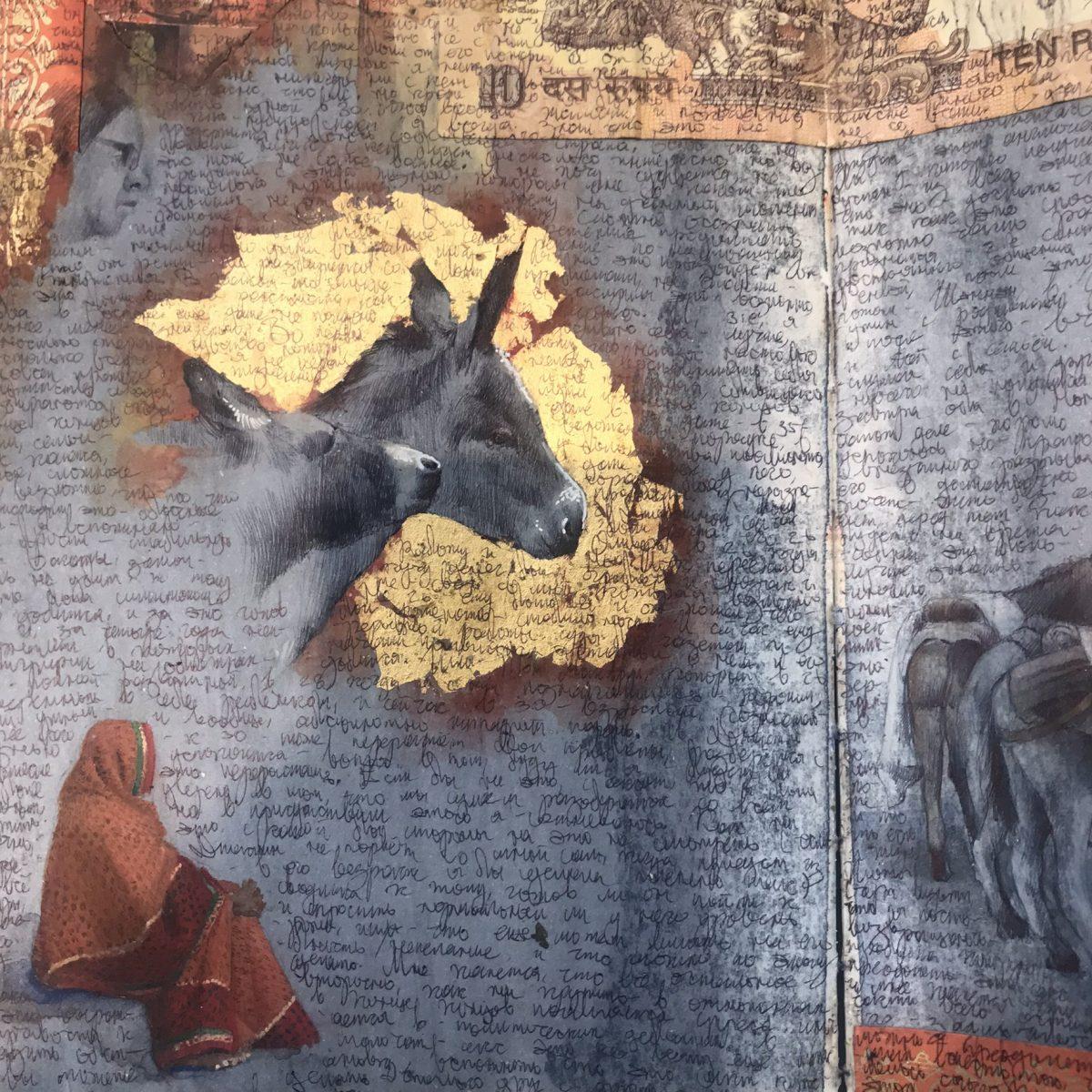Detail of Dina Brodsky's sketchbook. (Milene Fernandez/The Epoch Times)