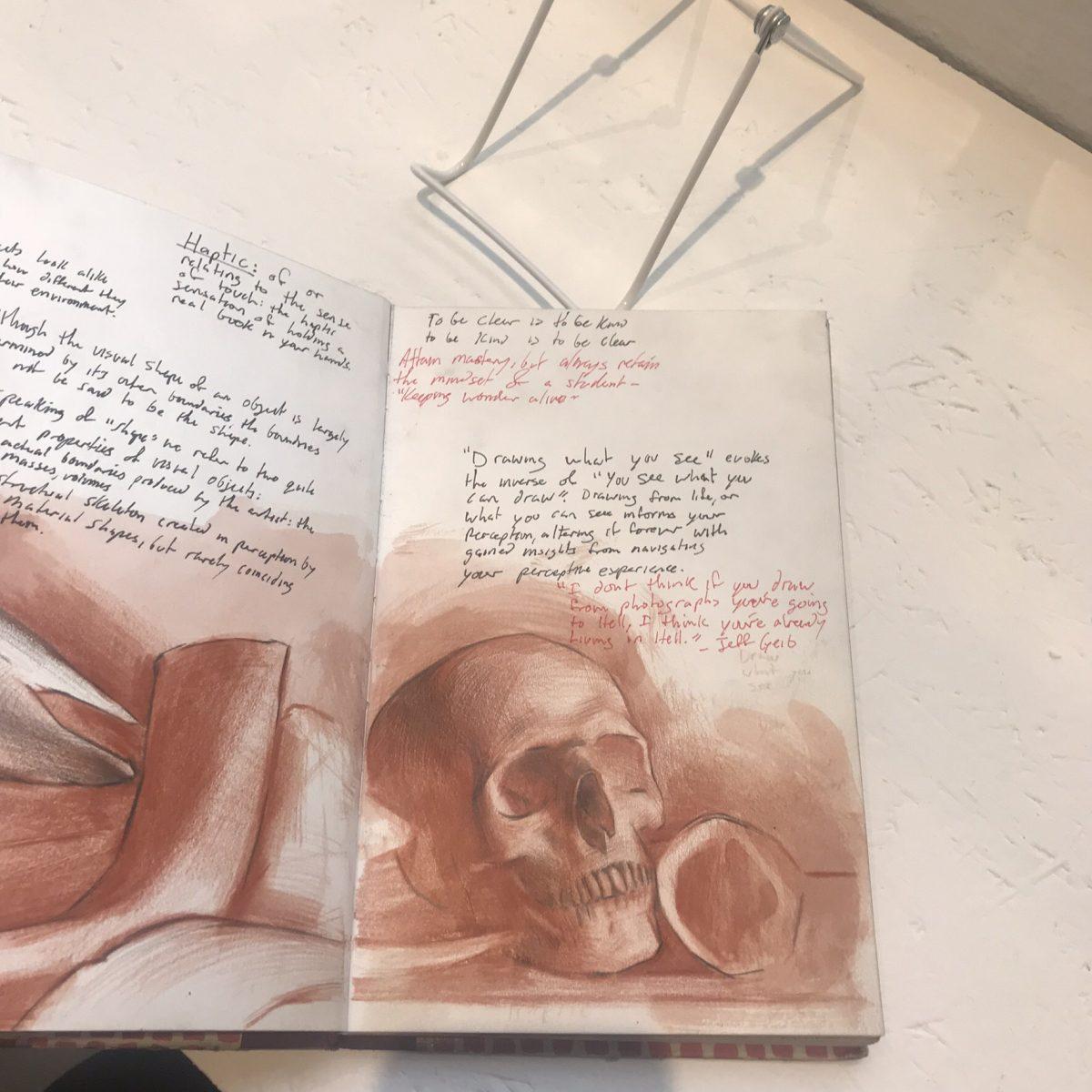 Sketchbook page by Evan Kitson. (Milene Fernandez/The Epoch Times)
