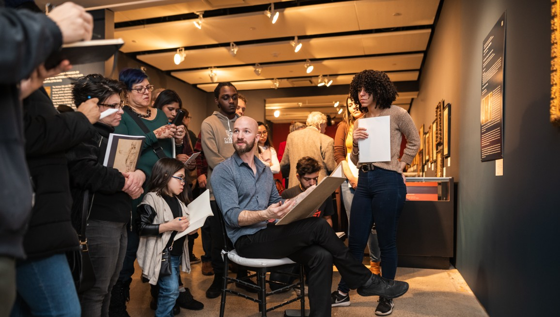 Joshua Henderson teaches people how to draw at the Old Master Drawings sale at Sothebys, in New York on January 27, 2019. (Julian Cassady)