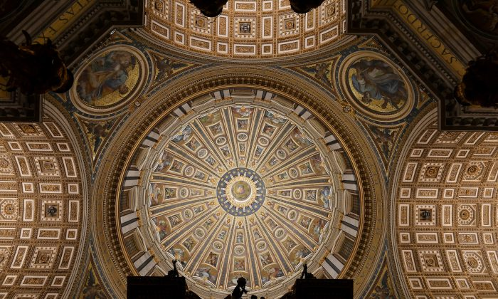 New illumination reveals more of the main dome at St. Peter's Basilica in Rome. (OSRAM Licht AG)