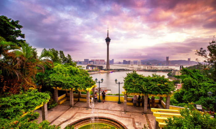 View from Macao Peninsula past AJ Hackett Macau Tower to the islands. (Macao Government Tourism Office)