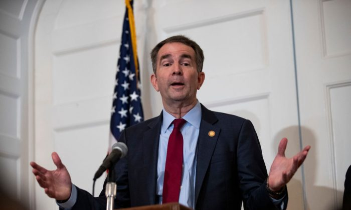 Virginia Governor Ralph Northam speaks with reporters at a press conference at the Governor's mansion on Feb. 2, 2019 in Richmond, Va. (Alex Edelman/Getty Images)