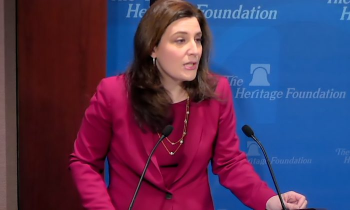 "Screenshot of Assistant Attorney General Beth Williams speaking at the Heritage Foundation panel ""The Legitimacy of Nationwide Injunctions"" in Washington on Feb. 4. (Screenshot Heritage Foundation)"
