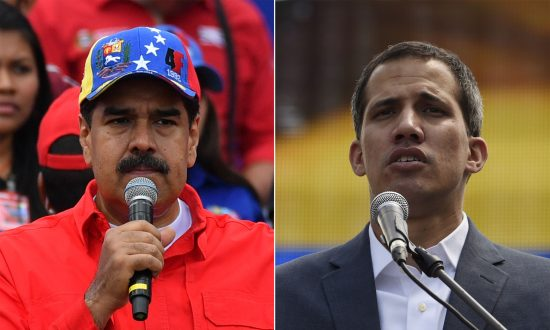 This combination of pictures created on Feb. 2, 2019, shows Nicolás Maduro (L) delivering a speech during a gathering with supporters in Caracas on Feb. 2, 2019, and opposition leader Juan Guaidó delivering a speech in Caracas on Feb. 2, 2019. (YURI CORTEZ,JUAN BARRETO/AFP/Getty Images)