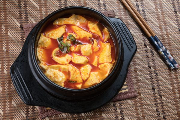 Soondubu spicy seafood tofu stew at Golden Sushi