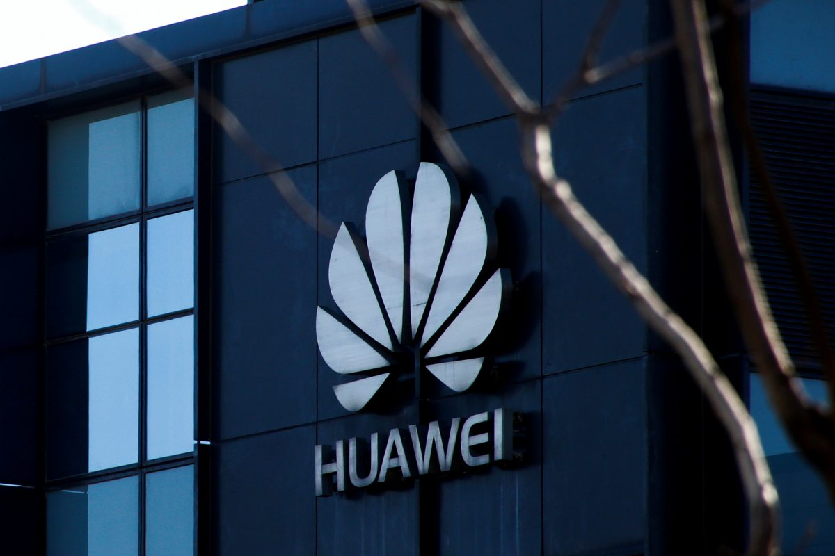 Huawei logo on a building