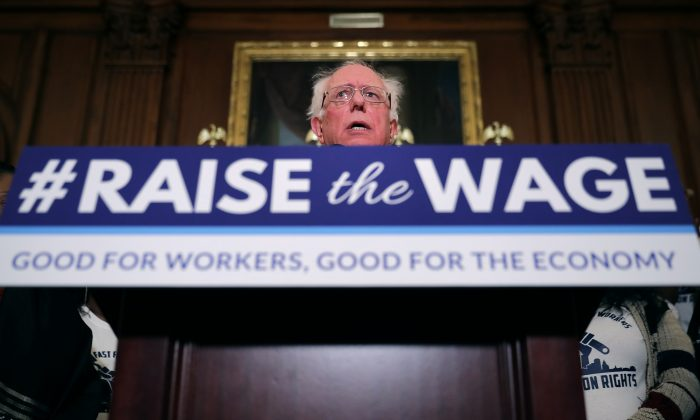 Sen. Bernie Sanders (I-VT) speaks during an event to introduce the Raise The Wage Act in the Rayburn Room at the Capitol, Jan. 16, 2019. Chip Somodevilla/Getty Images