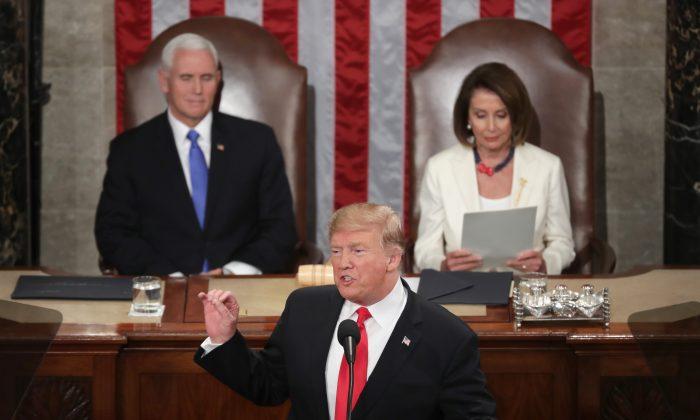 President Donald Trump delivers the State of the Union address at the U.S. Capitol on Feb. 5, 2019. (Chip Somodevilla/Getty Images)