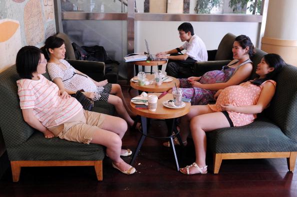 Four pregnant women