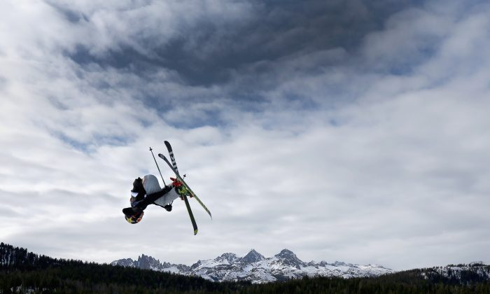Man is seen in the air while skiing at Mammoth Mountain ski resort in Mammoth, Calif. on Jan. 21, 2018. (Sean M. Haffey/Getty Images)