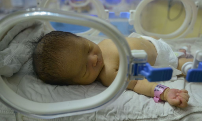 A Chinese newborn seen in the hospital on Jan. 19, 2019.  (STR/AFP/Getty Images)