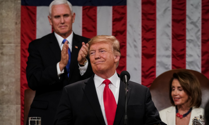 President Donald Trump delivered the State of the Union address, with Vice President Mike Pence and Speaker of the House Nancy Pelosi, at the Capitol in Washington, on Feb. 5, 2019. (Doug Mills/The New York Times POOL PHOTO NYTSOTU)