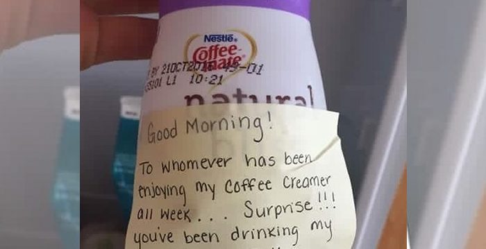 Woman Teaches Workplace Thief a Lesson After Her Coffee Creamer Gets Stolen