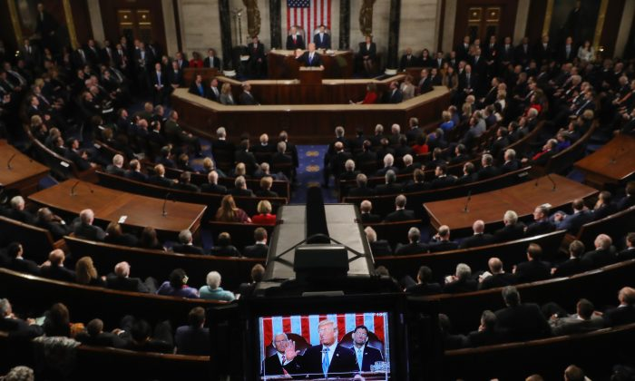 WASHINGTON, DC - JANUARY 30:  U.S. President Donald J. Trump delivers the State of the Union address in the chamber of the U.S. House of Representatives January 30, 2018 in Washington, DC. This is the first State of the Union address given by U.S. President Donald Trump and his second joint-session address to Congress.  (Photo by Chip Somodevilla/Getty Images)