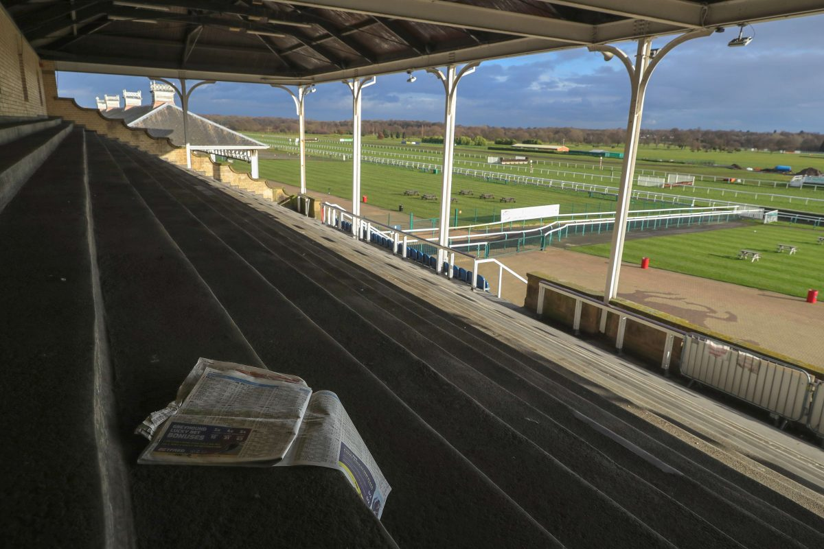 Empty terraces and stands at Doncaster Racecourse