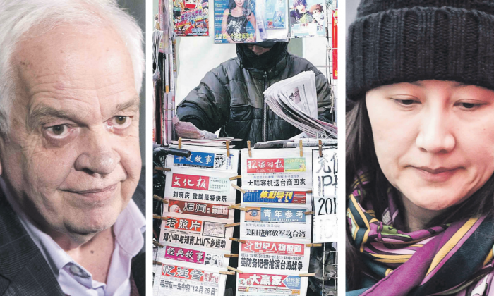 Chinese media are regularly directed by the Chinese communist regime on how to report on sensitive topics, including the arrest of Huawei CFO Meng Wanzhou (R) and former Canadian ambassador to China John McCallum (L). (The Canadian Press; Liu Jin/AFP/Getty Images)