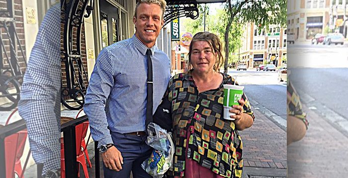 Man Finds Homeless Lady Using Money to Rent Books and Raises Over $10,000 for Her