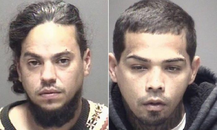 Jose Lugo (L) and Luis Jimenez are charged with aggravated robbery in Texas City after police said they showed up to an area home wearing clown masks and armed with a machete, in Texas City, Texas, on Feb. 1, 2019. (Galveston County Sheriff's Office)