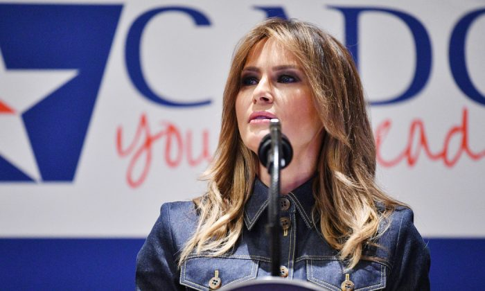 US First Lady Melania Trump speaks during the Community Anti-Drug Coalitions of America (CADCA) National Leadership Forum in National Harbor, Maryland, on February 7, 2019. (Mandel Ngan/AFP/Getty Images)