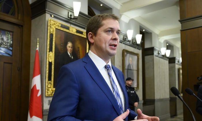 Conservative Leader Andrew Scheer holds a press conference on Parliament Hill in Ottawa on Feb. 8. (The Canadian Press/Sean Kilpatrick)