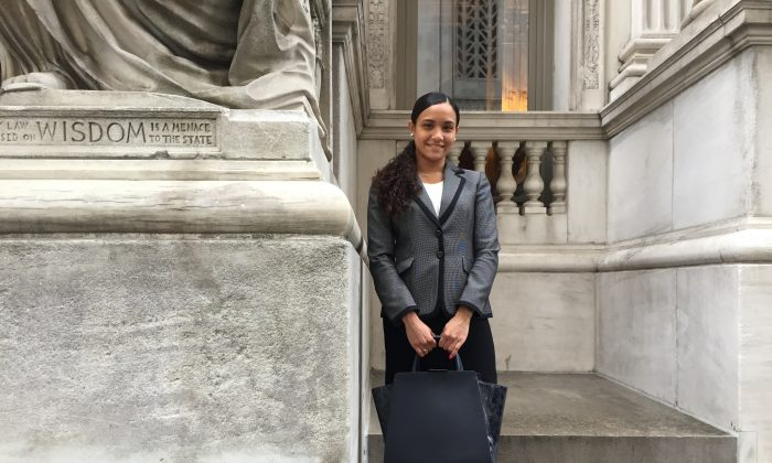 Christina Seda the day she was sworn in as an attorney on the New York State Bar. (Courtesy of TEAK)