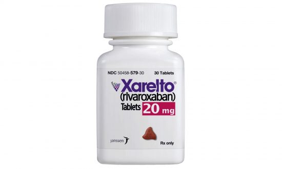 This undated product image provided by Janssen Pharmaceuticals, Inc. shows Xarelto. Johnson & Johnson says it will start giving the list price of its prescription drugs in television ads. The company would be the first drugmaker to take that step. J&J said on Feb. 7, 2019. (Janssen Pharmaceuticals Inc/AP)