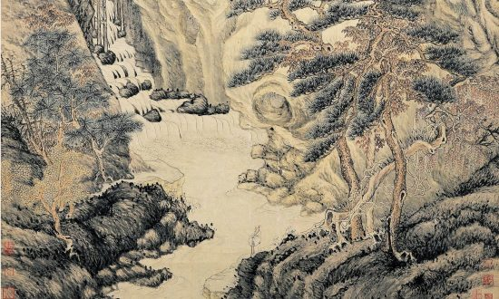 "A detail from ""Lofty Mount Lu,"" 1467, by Shen Zhou. Hanging scroll with ink and color on paper, 76.3 inches by 38.6 inches. National Palace Museum, Taipei.  (Public Domain)"
