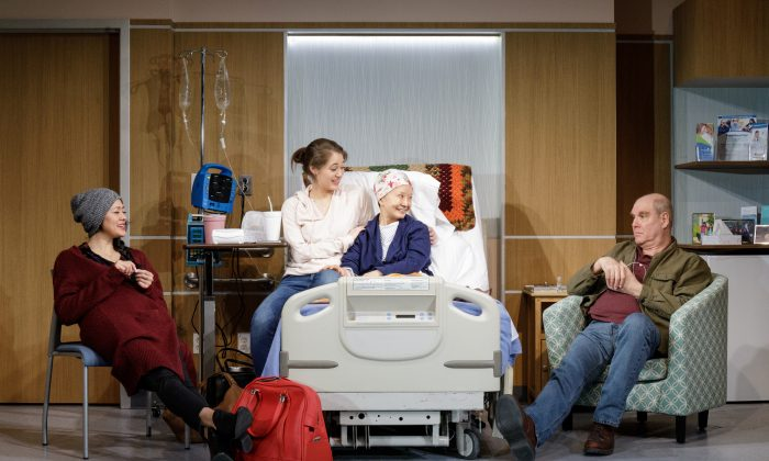 "The family pulls together for the matriarch's cancer treatment: Hiro (Satomi Blair), Sophie (Emma Kikue), Masako (Ako), and James (Jay Patterson) in Primary Stages' production of ""God Said This."" (James Leynse)"