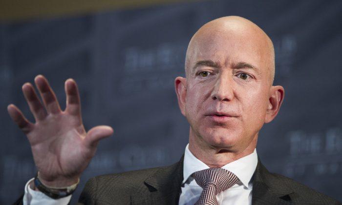 Jeff Bezos, Amazon founder and CEO, speaks at The Economic Club of Washington's Milestone Celebration in Washington, on Sept. 13, 2018. (Cliff Owen/AP Photo)