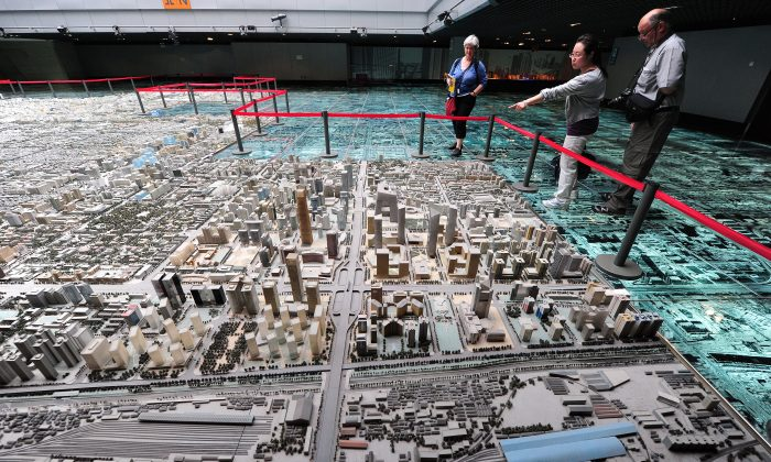 In a file photo, a model of real estate development plans in Beijing's Central Business District is seen at Beijing's Urban Planning Exhibition Center. (Frederick J. Brown/AFP/Getty Images)