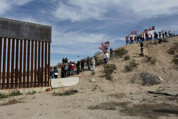Trump supporters stage a 'human wall' at U.S.-Mexico border