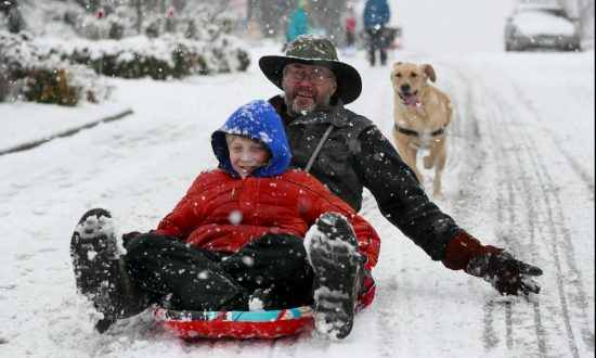 Beckett Luthi, 9, and his father Chris Luthi sled near their home in West Seattle on Feb. 8, 2019. (Erika Schultz/The Seattle Times via AP)